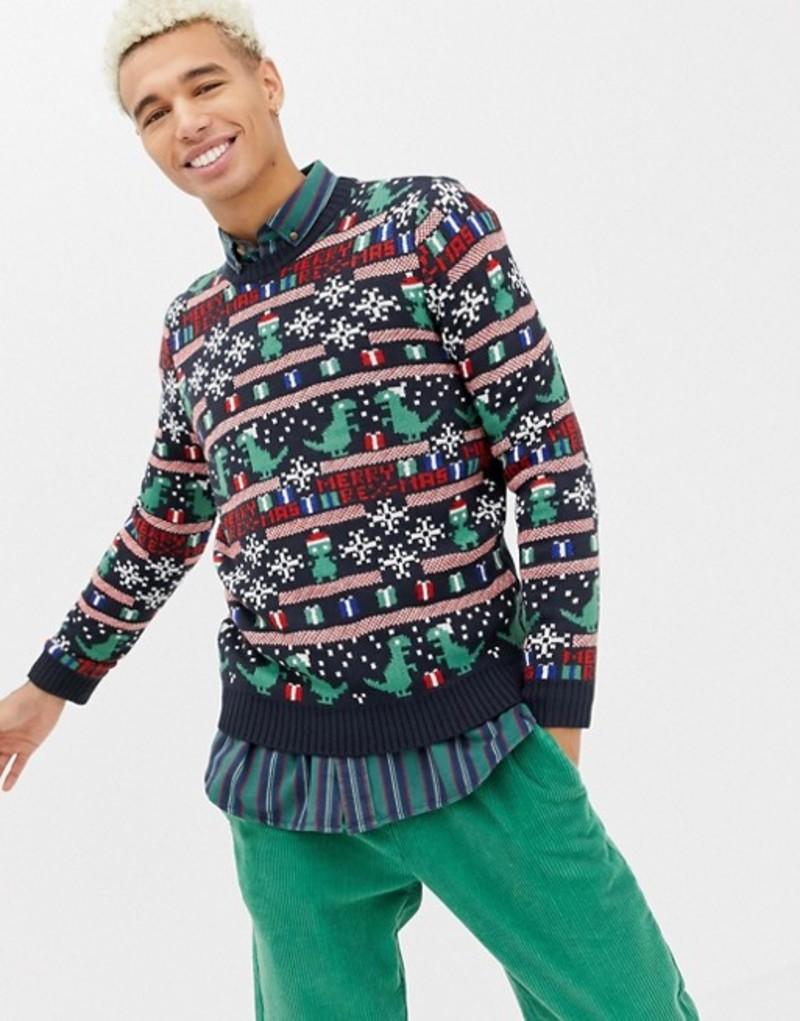 オンリーアンドサンズ メンズ ニット・セーター アウター Only & Sons christmas sweater with novelty fairisle Dark navy