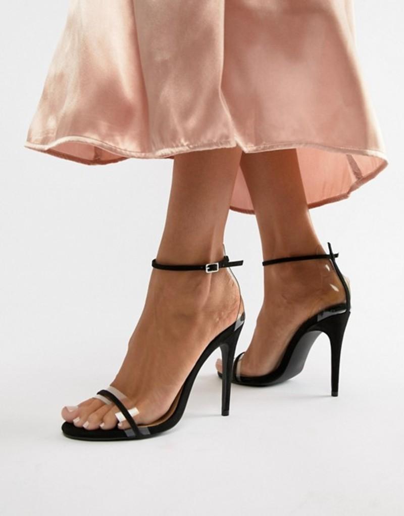キューピッド レディース サンダル シューズ Qupid Clear Strap Barley There Heeled Sandals Black