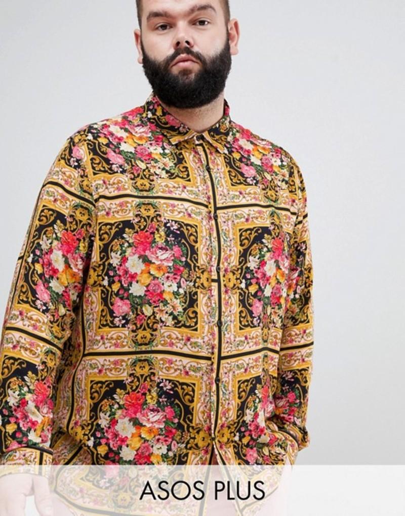 エイソス メンズ シャツ トップス ASOS DESIGN Plus regular fit floral baroque print shirt in viscose Multi