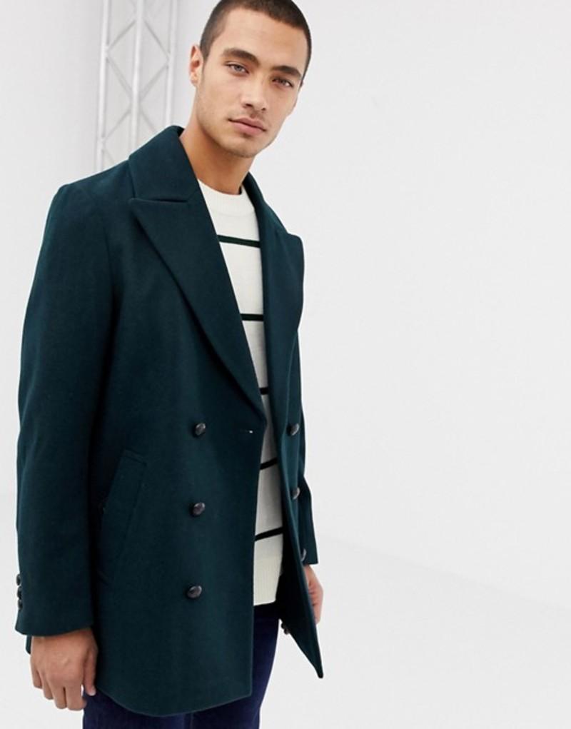 エイソス メンズ ジャケット・ブルゾン アウター ASOS DESIGN wool mix double breasted jacket in dark green Bottle green