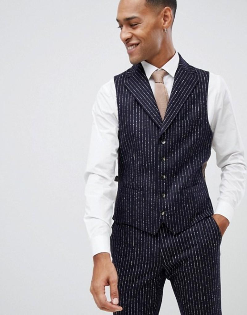モス ブラザーズ メンズ タンクトップ トップス Moss London premium skinny vest in 100% wool boucle stripe Navy ink