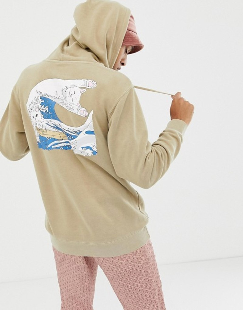 リップンディップ メンズ パーカー・スウェット アウター RIPNDIP Great Wave Of Nerm Hoodie In Cream Cream