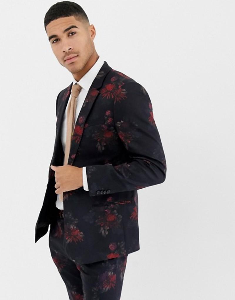 リバーアイランド メンズ ジャケット・ブルゾン アウター River Island skinny fit suit jacket in dark floral print Black