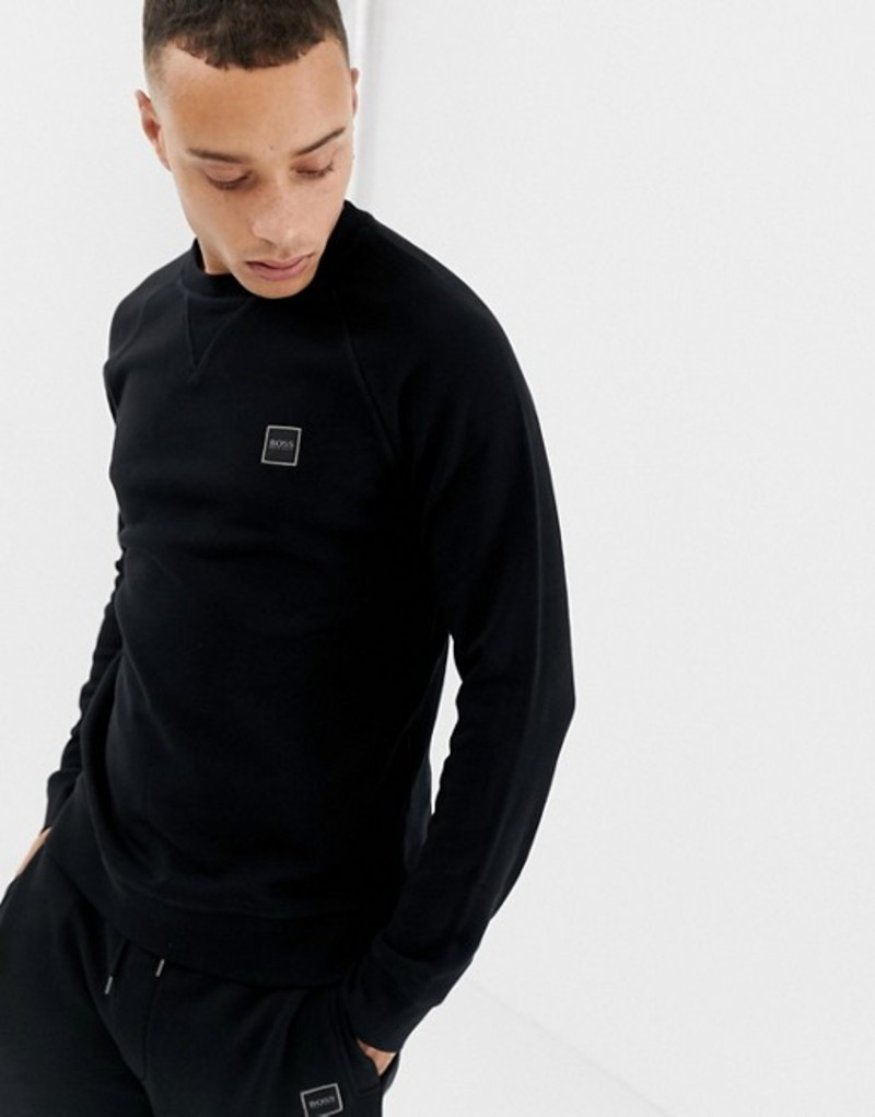 ボス メンズ パーカー・スウェット アウター BOSS Wyan logo crew neck sweat in black Black