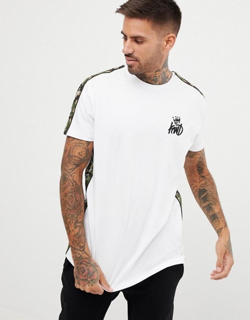 キングスウィルドリーム メンズ Tシャツ トップス Kings Will Dream muscle t-shirt with camo side stripe White