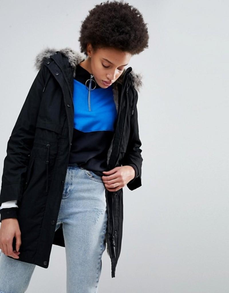 パーカロンドン レディース コート アウター Parka London Lara Essential Parka Coat with Faux Fur Trim Hood Black