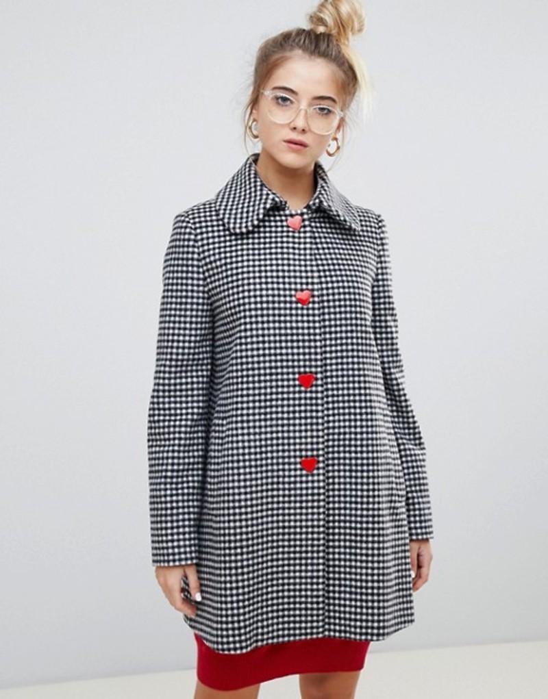 ラブ モスキーノ レディース コート アウター Love Moschino Reds and Gingham Wool Blend Coat 3006