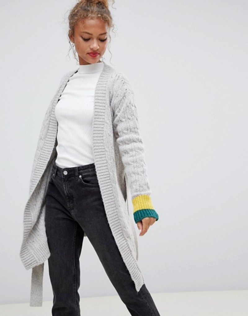 ブレンドシー レディース カーディガン アウター Blend She Jilly sporty stripe cuff wrap wool blend cardigan Ultra light grey
