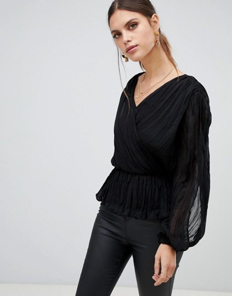 リバーアイランド レディース Black シャツ トップス gathered River black Island gathered wrap front blouse in black Black, 四国仏壇:41e4bc80 --- kutter.pl