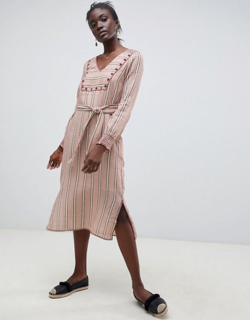 イントロピア ワンピース Intropia トップス embroidered midi tunic Stripes dress レディース