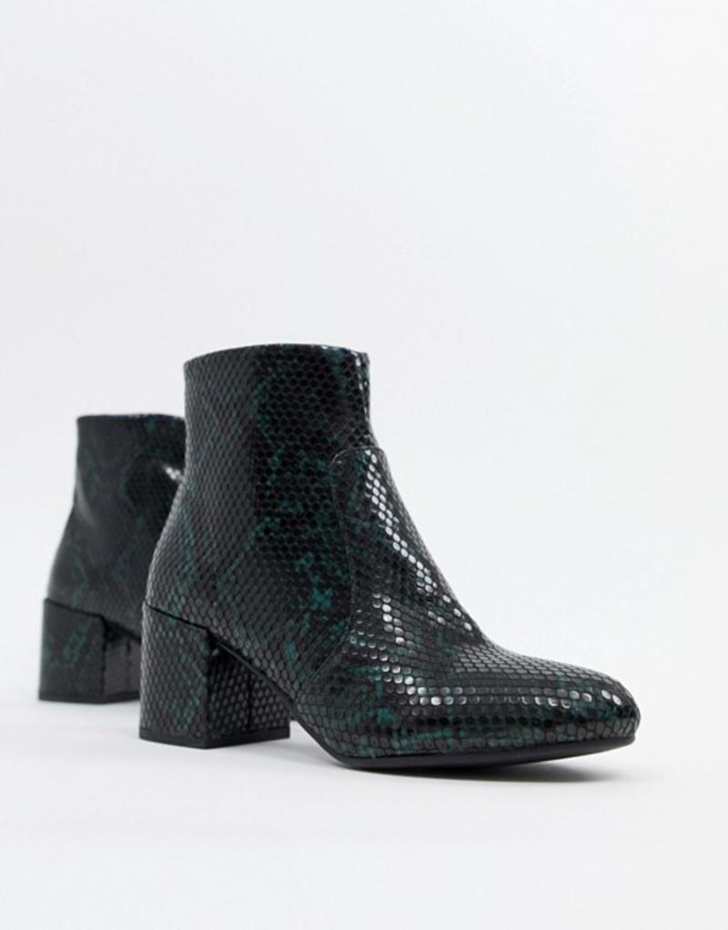 ニュールック レディース ブーツ・レインブーツ シューズ New Look Snake Effect Block Heel Boot Green pattern
