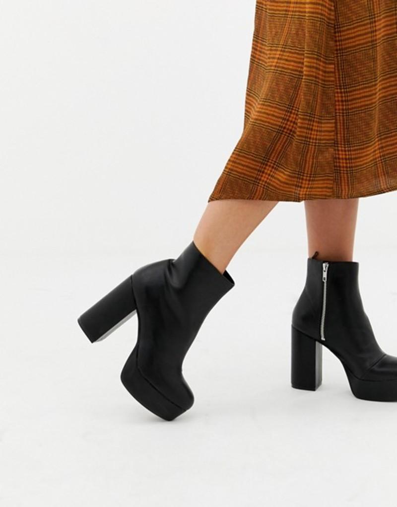 モンキ レディース ブーツ・レインブーツ シューズ Monki zip heeled platform boot in black Black