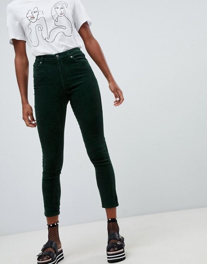 モンキ レディース カジュアルパンツ ボトムス Monki cord skinny pants in dark green Green