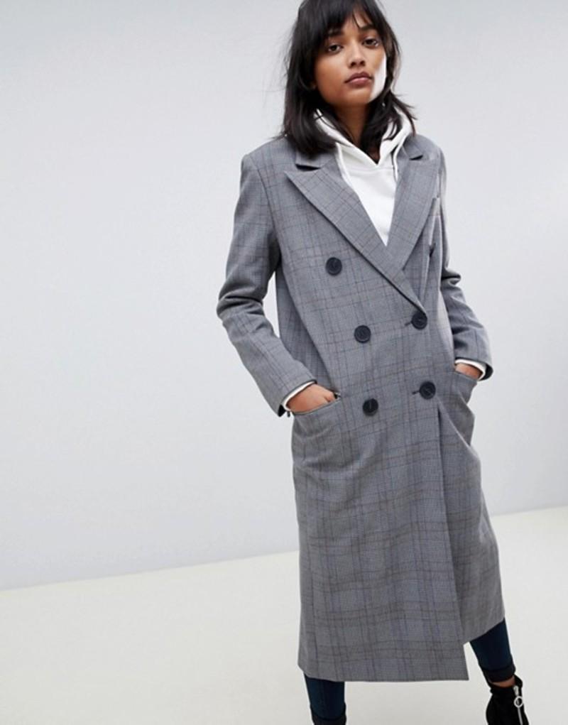 エイソス レディース コート アウター ASOS DESIGN maxi check coat Multi