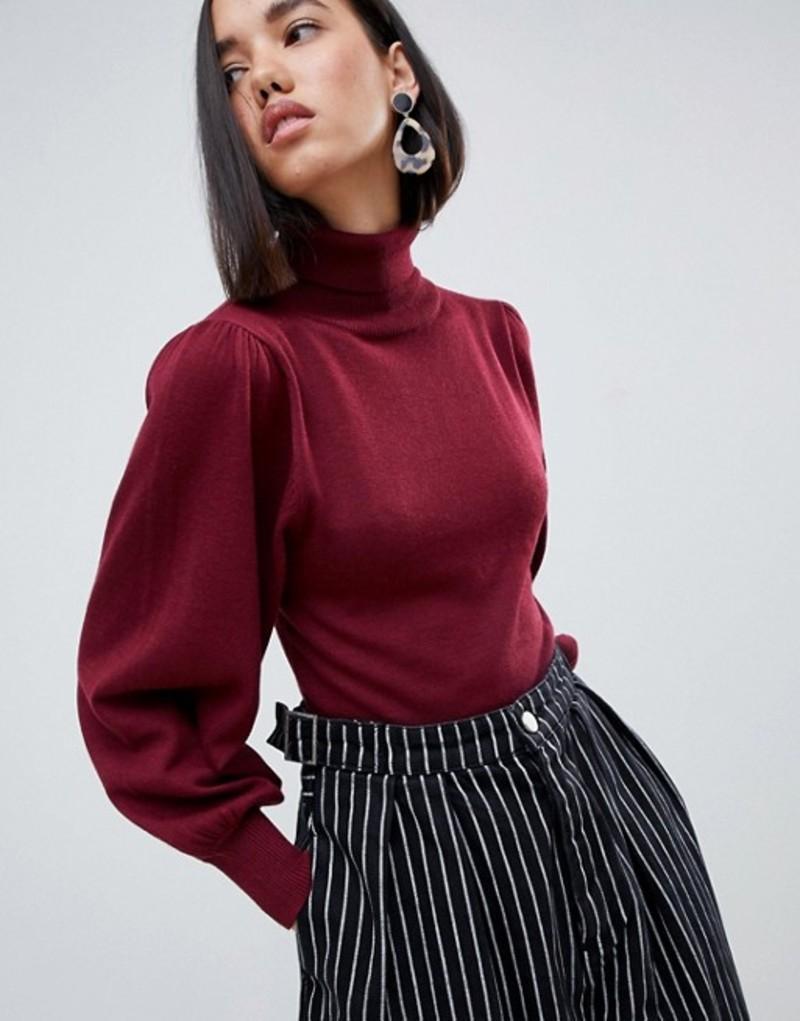 エイソス レディース ニット・セーター アウター ASOS DESIGN eco crop roll neck sweater in volume sleeve Berry