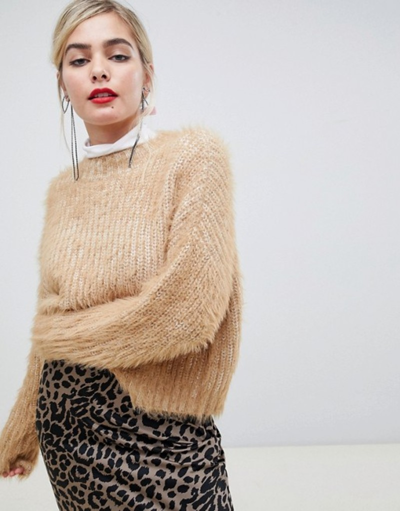 エイソス レディース ニット・セーター アウター ASOS DESIGN oversized sweater in fluffy yarn Camel