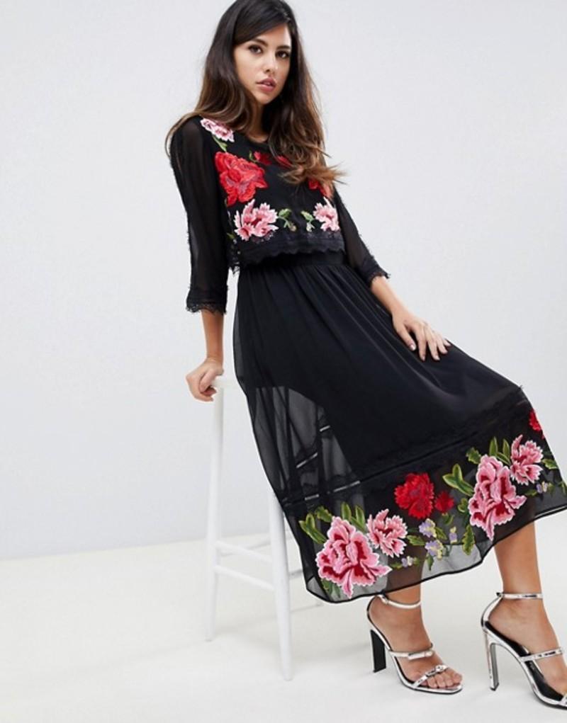 エイソス レディース ワンピース トップス ASOS DESIGN double layer midi embroidered dress with long sleeves Black