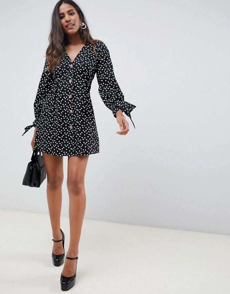 エイソス レディース ワンピース トップス ASOS DESIGN button through mini skater dress in spot Multi