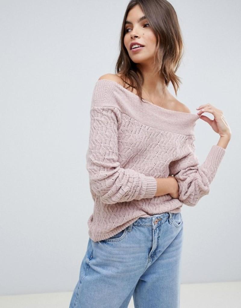 エイソス レディース ニット・セーター アウター ASOS DESIGN off shoulder pointelle sweater Blush
