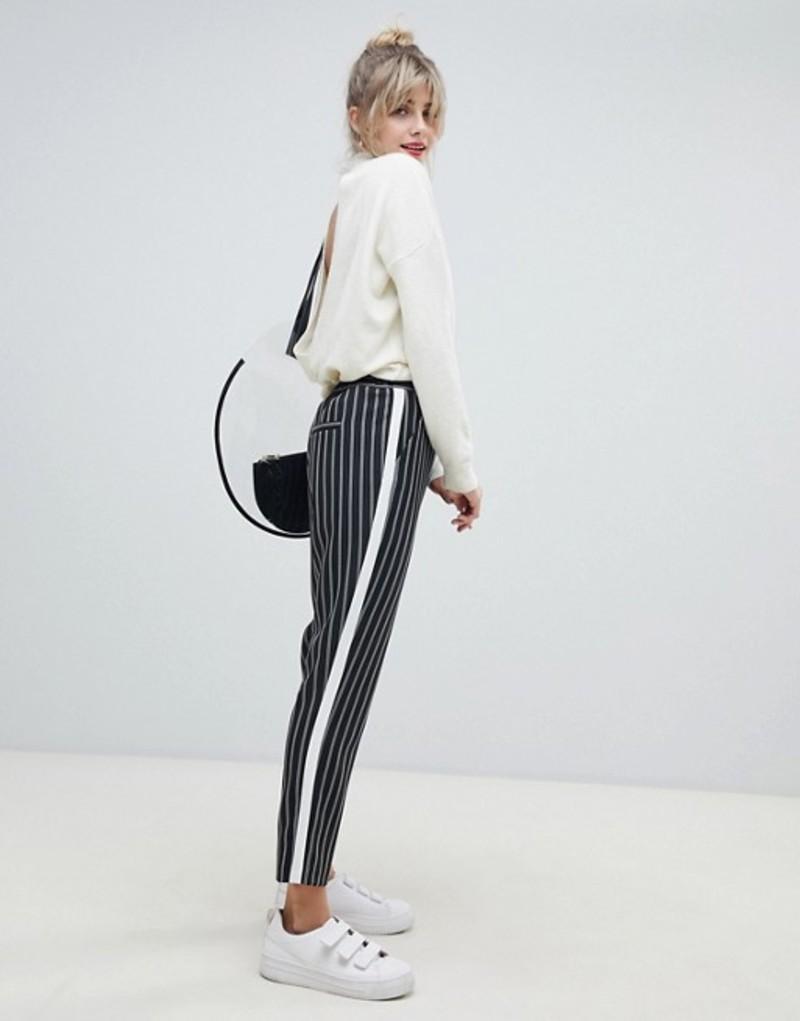 エイソス レディース カジュアルパンツ ボトムス ASOS DESIGN stripe tapered pants with contrast side panel Stripe