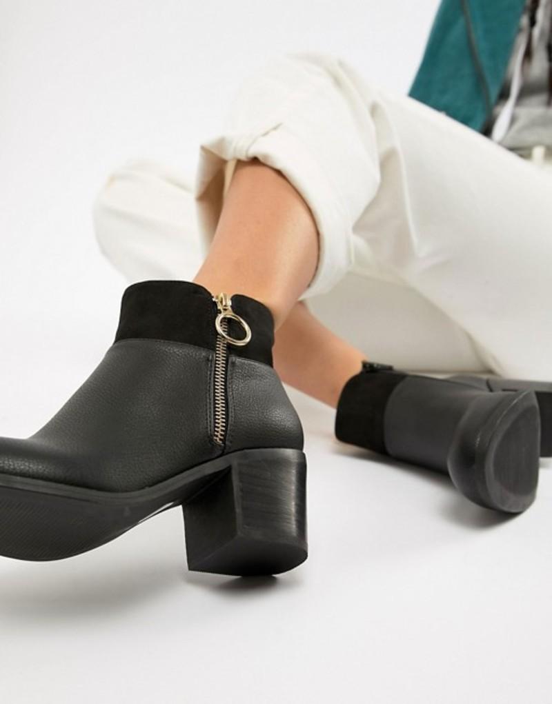 オフィス レディース ブーツ・レインブーツ シューズ Office Amara chunky black gold ring heeled boots Black faux leather
