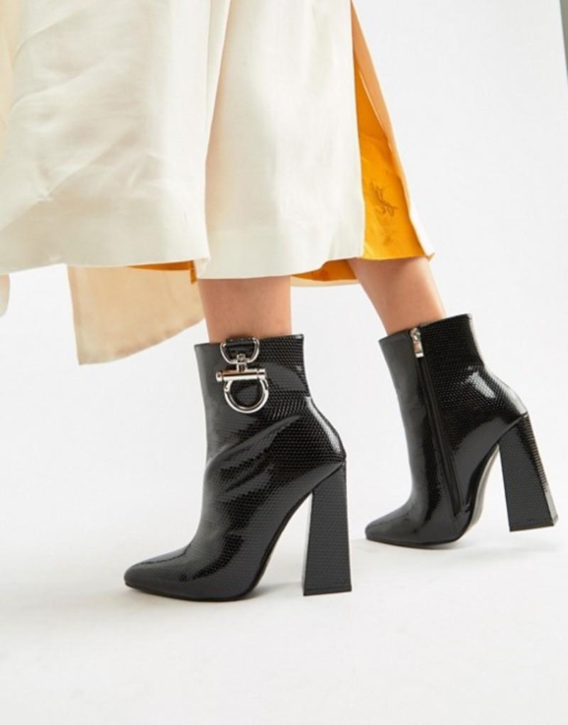 パブリックデザイア レディース ブーツ・レインブーツ シューズ Public Desire Forever black croc silver hardwear boots Black croc