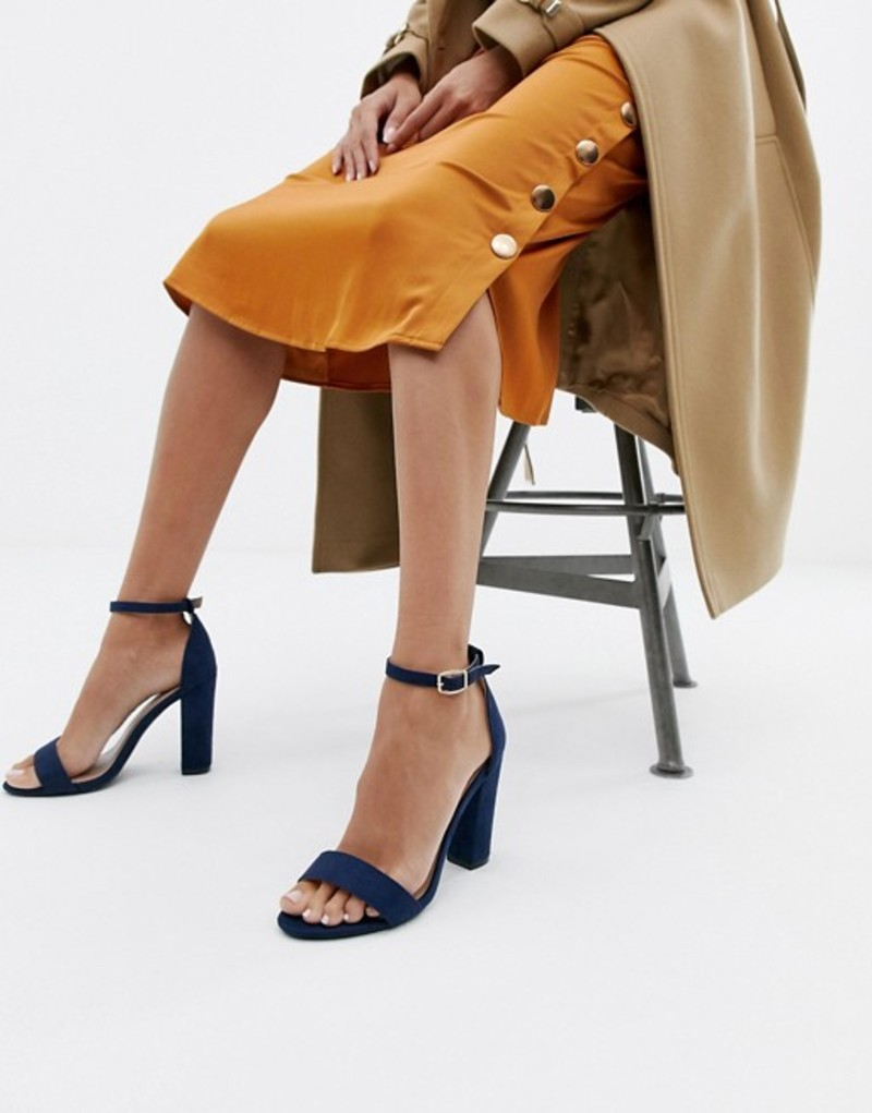 グラマラス レディース ヒール シューズ Glamorous barely there navy block heeled sandals Navy