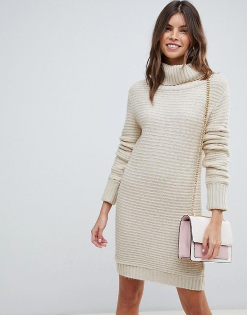 エイソス レディース ワンピース トップス ASOS DESIGN sweater dress with roll neck in ripple stitch Stone