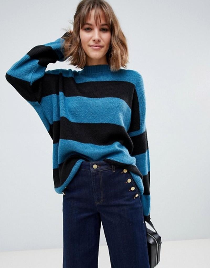 グラマラス レディース ニット・セーター アウター Glamorous oversized knitted sweater in tonal stripe Teal black stripe