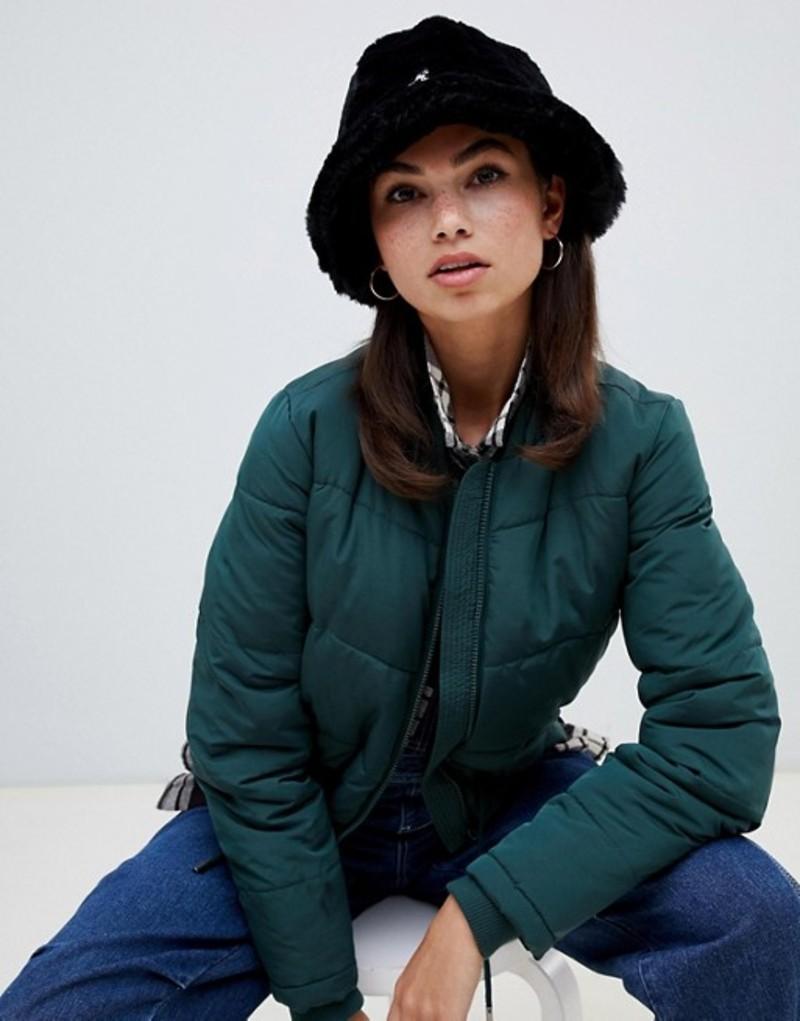 カンゴール レディース 帽子 アクセサリー Kangol faux fur casual bucket hat in black Black