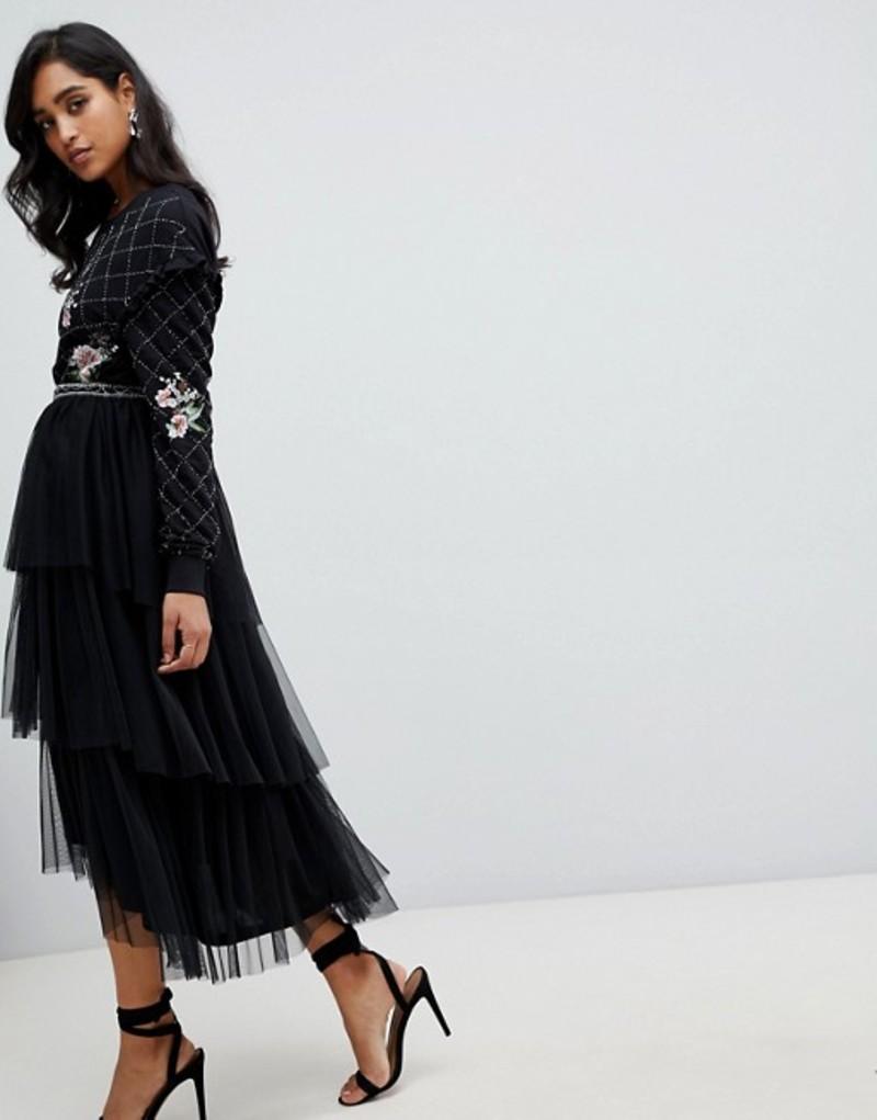 フロック レディース スカート ボトムス Frock and Frill embroidered tulle midi skirt in black Black