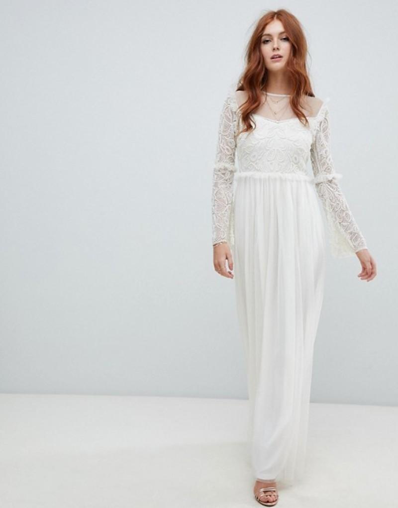 アメリアローズ レディース ワンピース トップス Amelia Rose embellished long sleeve dress in ivory White