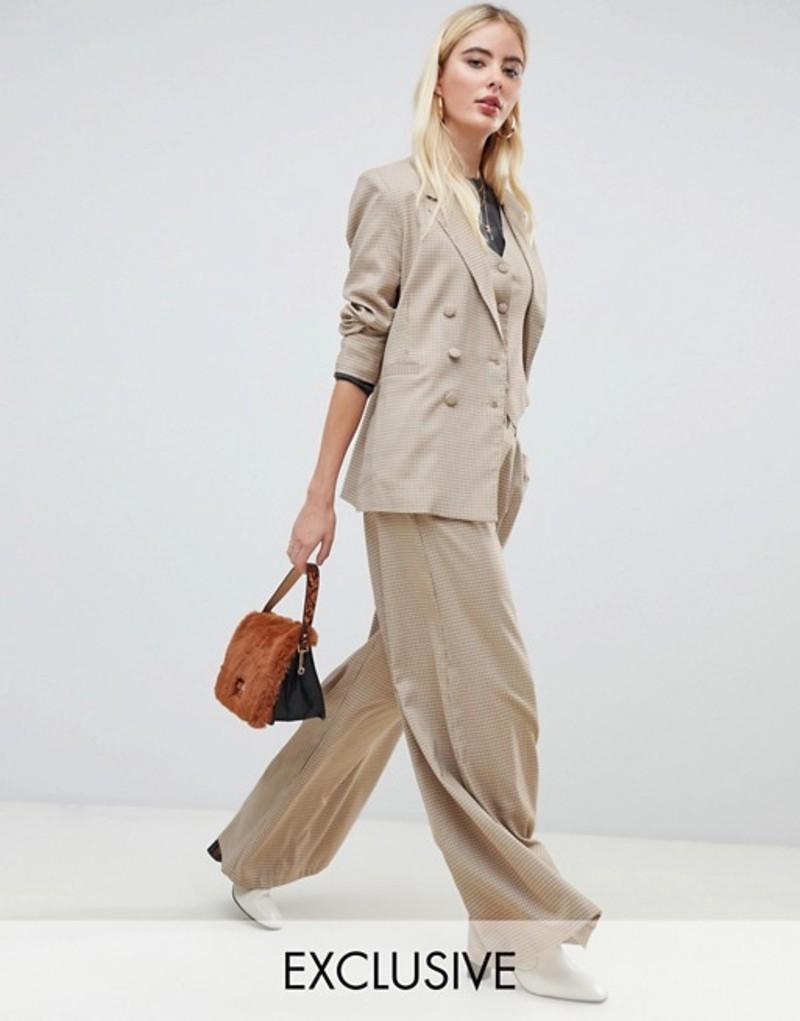 ユニークトゥエンティワン レディース カジュアルパンツ ボトムス UNIQUE21 super wide leg pants two-piece Heritage check