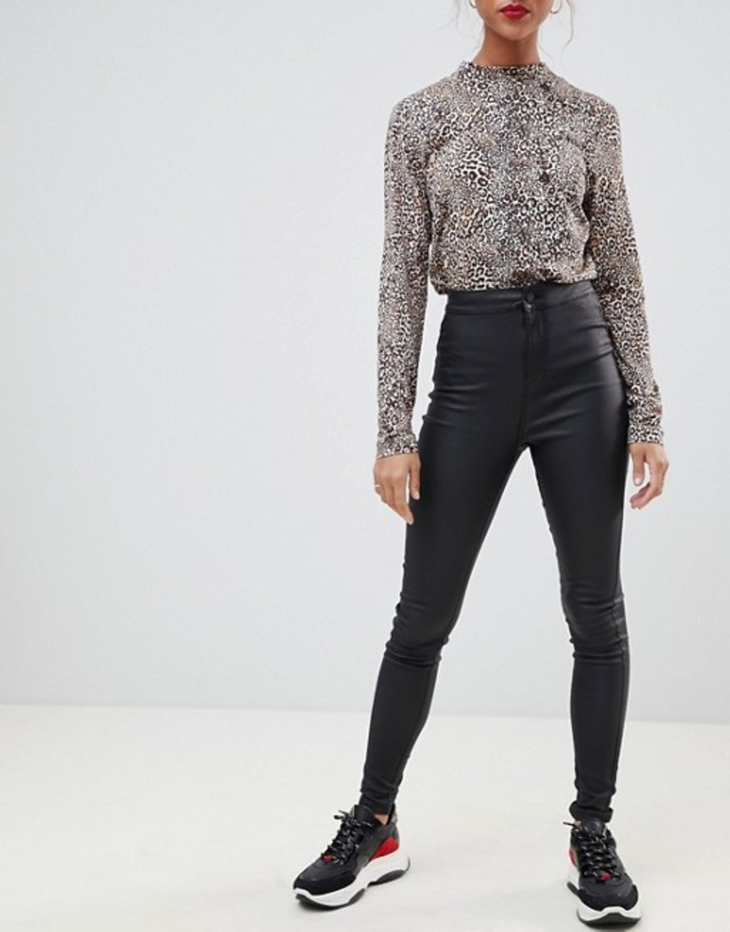 ノイジーメイ レディース デニムパンツ ボトムス Noisy May coated skinny jeans Black