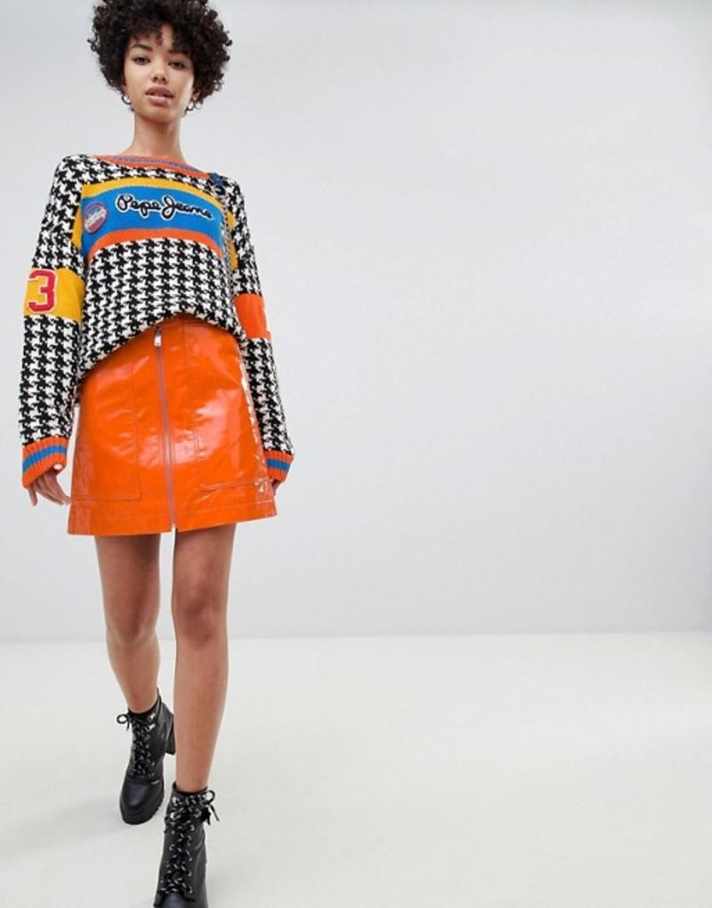 ペペジーンズ レディース スカート ボトムス Pepe Jeans patent mini skirt with exposed zip Orange