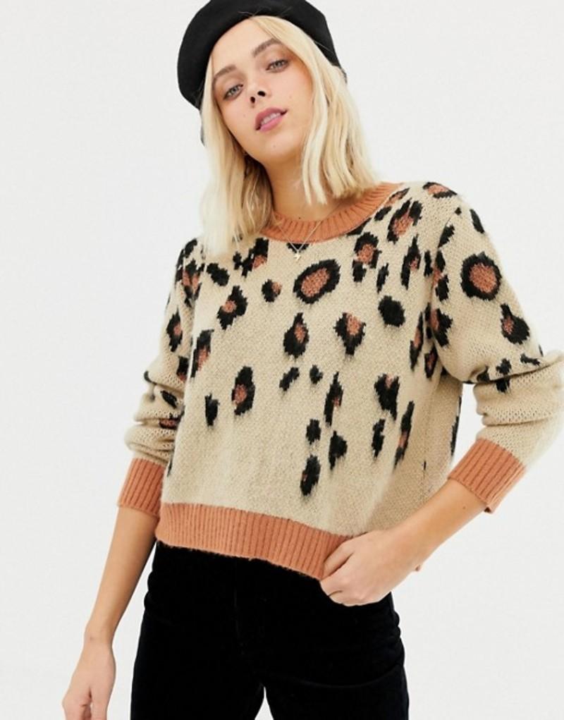ミスセルフフリッジ レディース ニット・セーター アウター Miss Selfridge sweater in leopard Brn animal