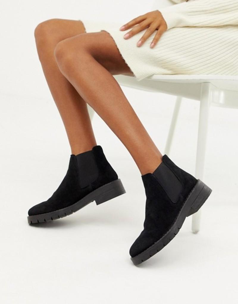 ミスセルフフリッジ レディース ブーツ・レインブーツ シューズ Miss Selfridge chunky chelsea boots in black Black