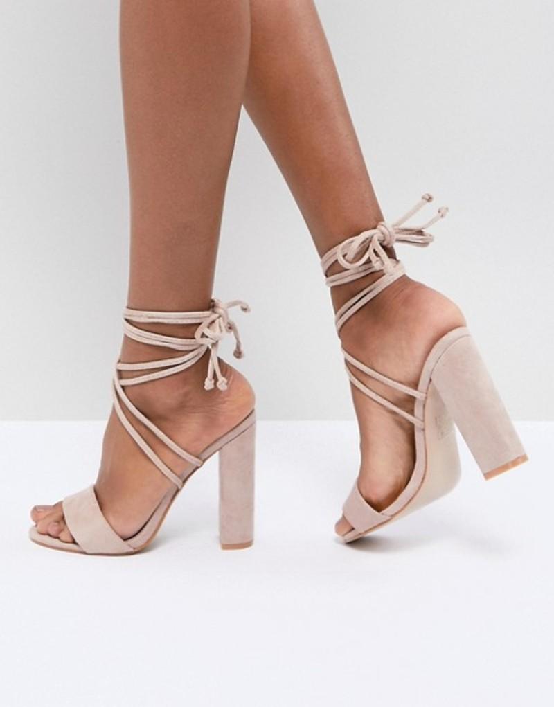 パブリックデザイア レディース ヒール シューズ Public Desire Suzu Tie Up Block Heeled Sandals Beige