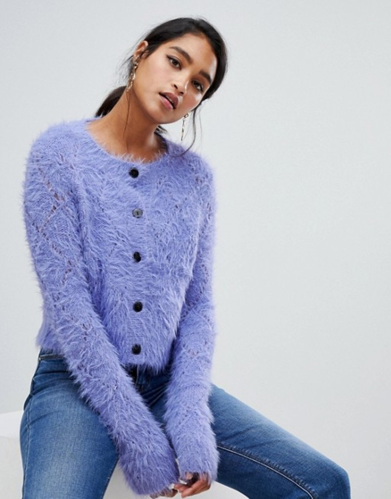 エイソス レディース カーディガン アウター ASOS DESIGN diamond knit cardigan in fluffy yarn Lilac
