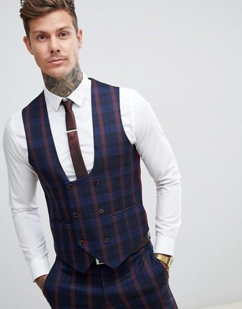 ハリー ブラウン メンズ タンクトップ トップス Harry Brown navy and burgundy check slim fit suit vest Navy