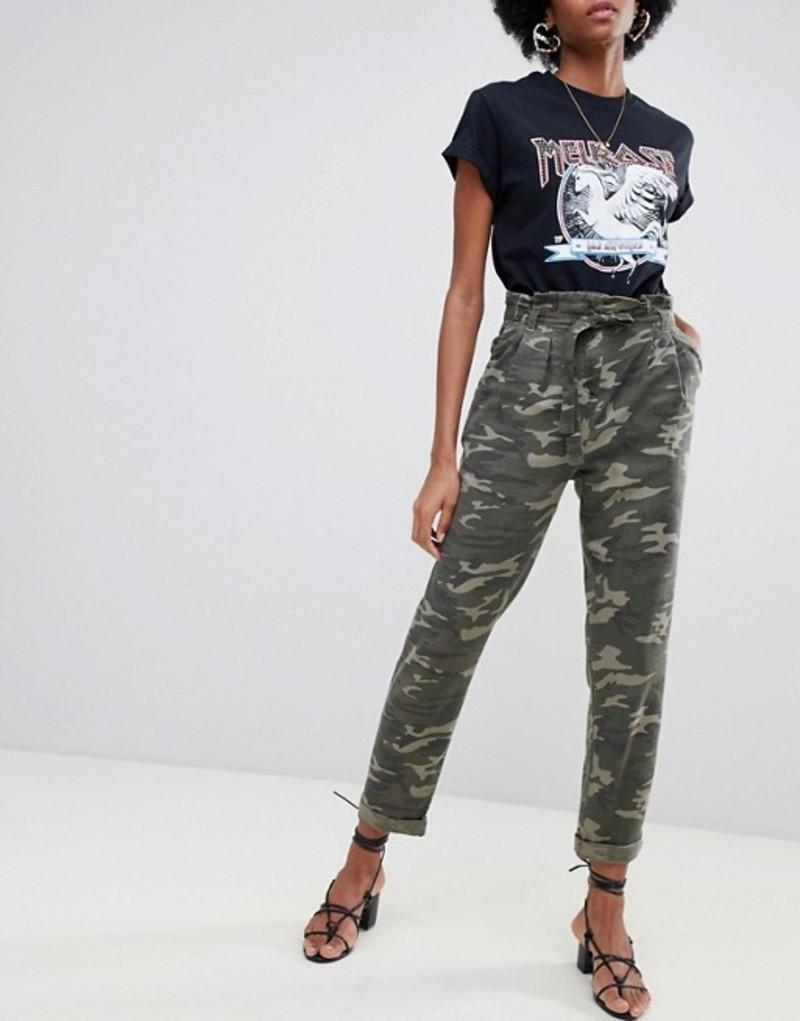 ミスセルフフリッジ レディース カジュアルパンツ ボトムス Miss Selfridge paperbag pants in camo Khaki