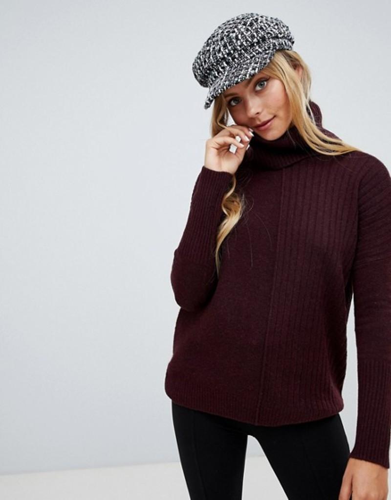 ミスセルフフリッジ レディース ニット・セーター アウター Miss Selfridge roll neck sweater in burgundy Burg