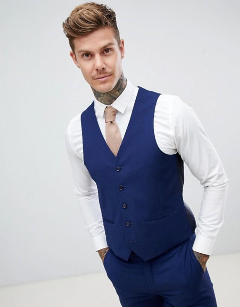 ハリー ブラウン メンズ タンクトップ トップス Harry Brown wedding slim fit super soft vest Blue