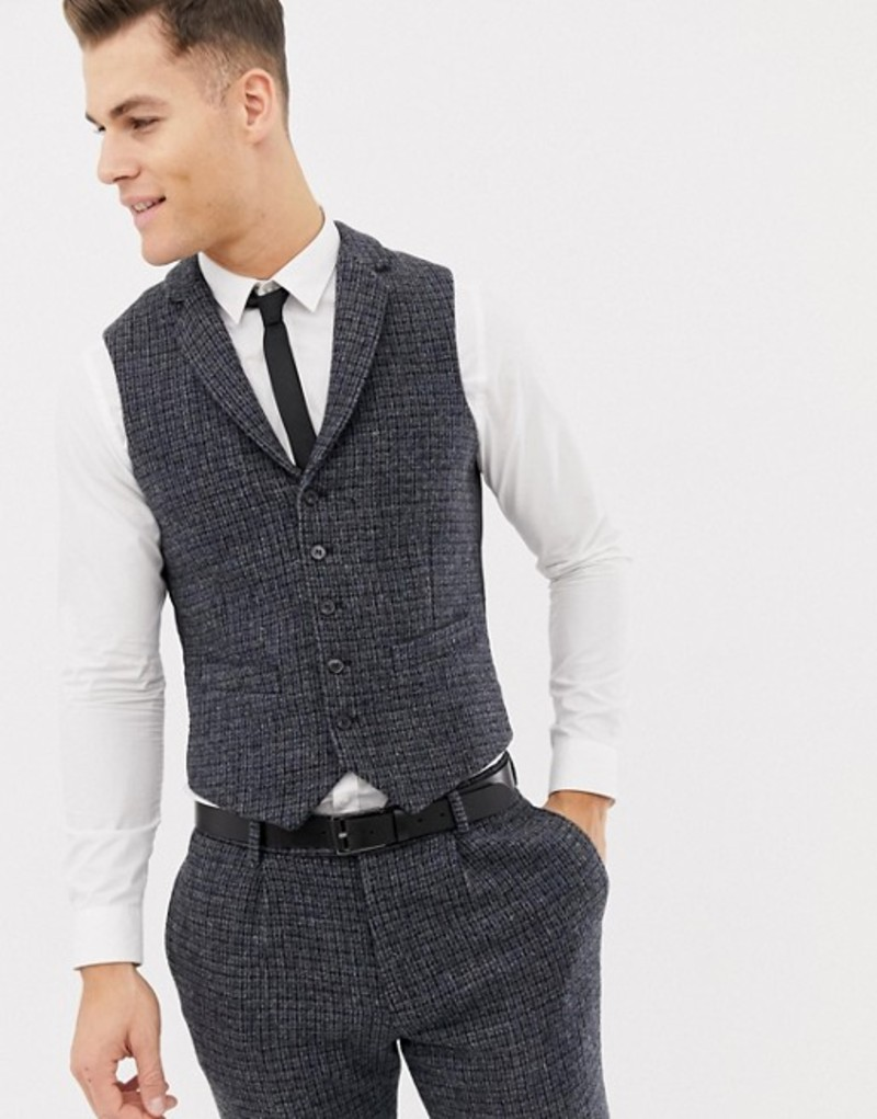 エイソス メンズ タンクトップ トップス ASOS DESIGN wedding slim suit vests in 100% wool Harris Tweed blue micro check Blue