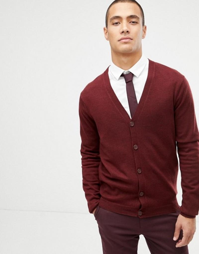 エイソス メンズ カーディガン アウター ASOS DESIGN merino wool cardigan in burgundy Burgundy