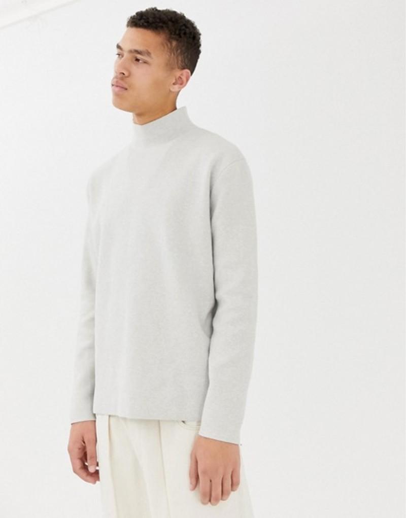 エイソス メンズ ニット・セーター アウター ASOS WHITE boxy sweater in ice gray structured knit Ice grey