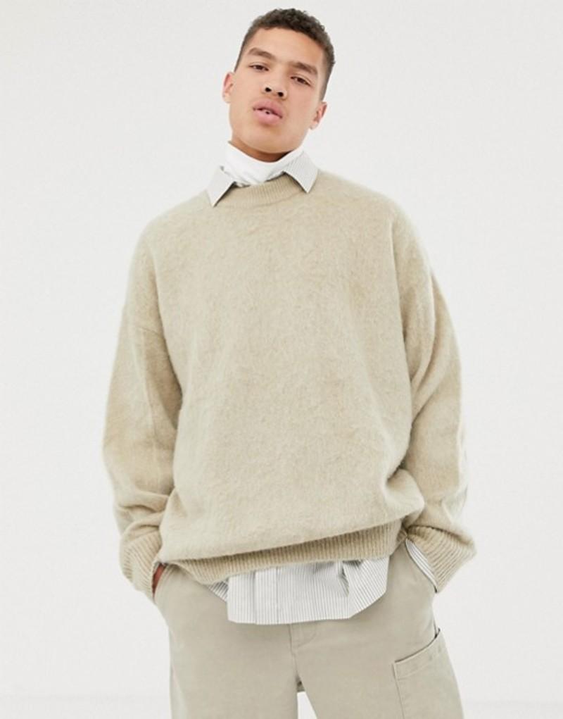 エイソス メンズ ニット・セーター アウター ASOS WHITE oversized fluffy sweater in oatmeal mohair Oatmeal