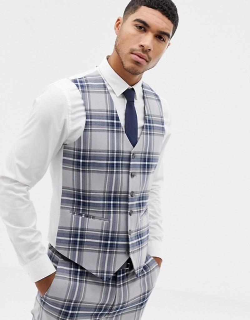 エイソス メンズ タンクトップ トップス ASOS DESIGN skinny suit vest in gray oversized check Grey