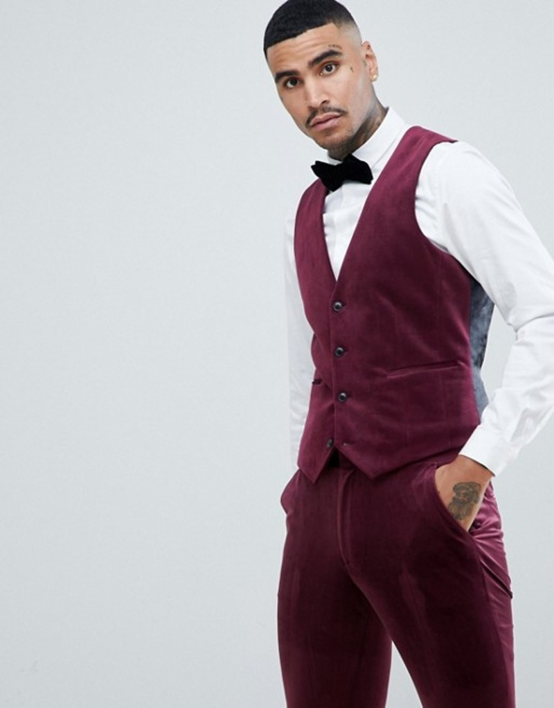 エイソス メンズ タンクトップ トップス ASOS DESIGN super skinny suit vest in burgundy velvet Burgundy