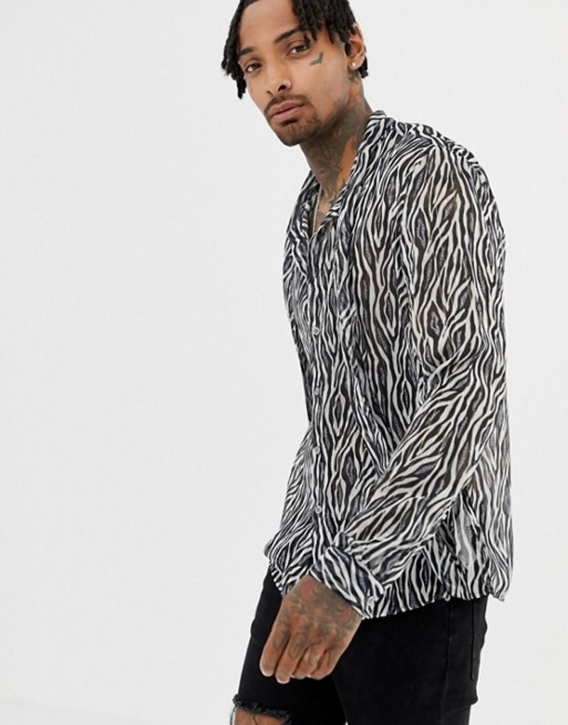エイソス メンズ シャツ トップス ASOS DESIGN regular sheer zebra sparkley shirt with tie neck Grey
